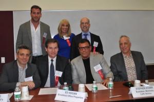Panelists at REBNY's offices last week. (front row, L-R) John DeLucie, Ed Hogan, Stephen Starr, Michael Weinstein; (back row, L-R) Mark Birnbaum, Joanne Podell, Jeffrey D. Roseman