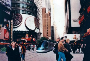 A design competition has been launched by the Institute for Rational Urban Mobility to encourage the creation of a light rail system in Times Square