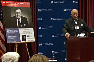 "Former Mayor David Dinkins spoke at a Baruch College event celebrating the publication of ""Mr. New York."""