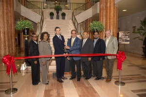 From left to right:  Joyce Watterman, Jersey City Councilwoman at Large; Diane Coleman, Jersey City Ward F Councilwoman; Steven Fulop, Mayor of Jersey City; Paul Kuehner, President of BLT; Rolando Lavarro Jr., Jersey City Council President; Daniel Rivera, Jersey City Councilman at Large; and Carl J. Kuehner, President of Real Estate Technology.