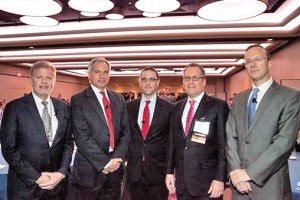 """Pictured l-r: Brian S. Cohen, Chairman of the New York Angels; Michael Colacino, President of Studley; Seth Pinsky, Executive Vice President at RXR and former president of NYCEDC; Marc R. Shapses, President of the Metropolitan Business Network and Executive Managing Director at Studley, Craig Gotsman, Founding Director of the Jacobs Technion-Cornell Innovation Institute (JTCII) at Cornell Tech, participated in the panel discussion, """"Tech In the City: Cornell-Technion's Impact on NYC's Economic Future."""""""