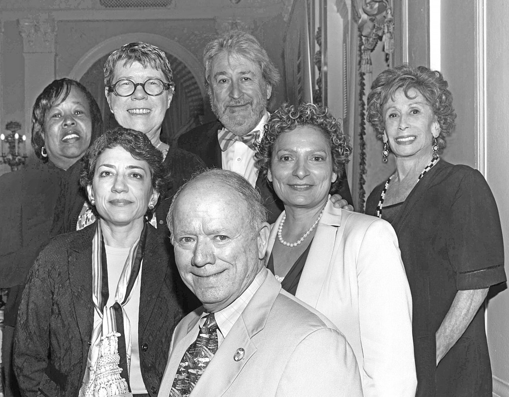Speakers at Professional Women in Construction (PWC) Transportation Forum: L-R, front: Bill Fife, Weidlinger Associates and The Fife Group; 2nd row: Polly Trottenberg, NYC DOT; Ronnie Hakim, NJ Transit; back: Stephanie Dawson, PANYNJ; Joan McDonald, NYS DOT; Michael Horodniceanu, MTA Capital Construction; Lenore Janis, PWC. Photo by Pearl Perkins.