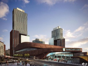 A rendering of Barclay's Center and Pacific Park