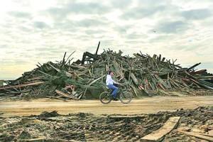 Boardwalk wood piled up on Beach 106th Street post-Sandy.