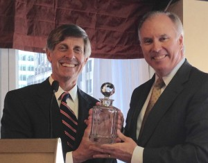 Paul Zofnass,  (left) presenting the award to George J. Pierson.
