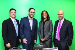Bronx is Booming panelists Mark Stagg, president the Stagg Group; Robert Frost, president of Signature Partners; Seble Tareke-Williams, managing director of Emmes Asset Management Company;  and moderator Shimon Shkury, president of Ariel Property Advisors