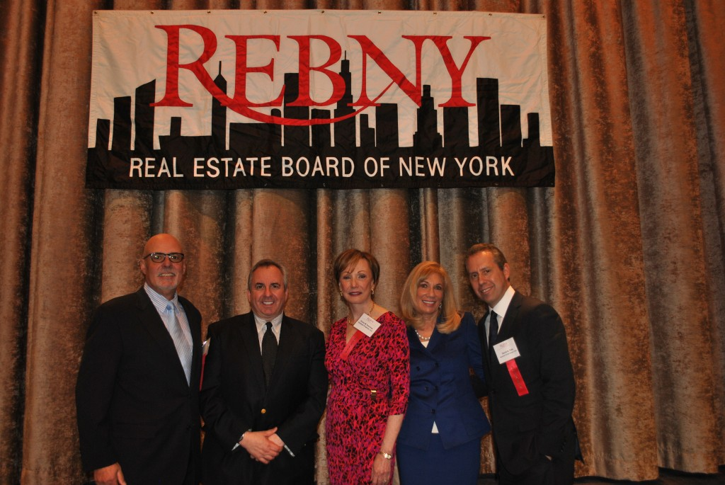 Moderator Michael Laginestra of CBRE with panelists David A. Falk of Newmark Grubb Knight Frank, Joanne Podell of Cushman & Wakefield, Diane M. Ramirez of Halstead Property, and Peter G. Riguardi, Jones Lang LaSalle.