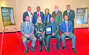 Pictured at the ENR New York Best of 2014 Awards are l-r, standing: Stalco Director of Field Operations James J. Schuchman, The Liro Group Manager Jaio H. Maraj, BPCA President & COO Shari C. Hyman, Stalco Principal Kevin G. Harney, and The LiRo Group Vice President Frank Franco. Left to right, seated: Stalco Project Manager Michael Finnerty, Stalco Vice President AnaTracey Hawkins, Stalco Vice President Joseph M. Serpe, and Weidlinger Associates Associate Michael Astrella.