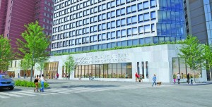 Rendering of the Hudson Companies luxury tower and library building at 280 Cadzow.