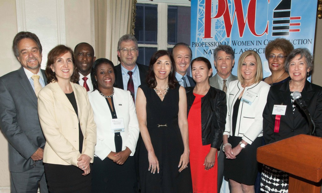 Professional Women in Construction (PWC) honored outstanding women at its annual Salute to Women of Achievement Luncheon at The Yale Club last week. Pictured L-R: Joseph Giulietti and Catherine Rinaldi, Metro-North; Robert Gaskin and Martine Duphrezin, RCGA Architects; James Starace and Denise Berger, PANYNJ; John Kalafatis and Eva Hatzaki, Skyline Restoration Inc.; Joseph Lawton and Ellen Chasanoff, HNTB; Barbara Armand, PWC and Armand Corp.; Nancy Czesak, PWC and Tishman, an AECOM Company. FOr a full report on the vent, see Page 6.                                                Photo by Pearl Perkins.
