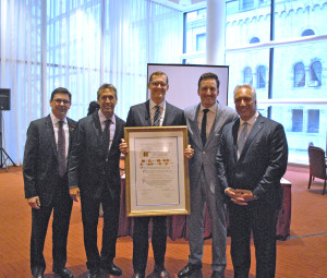 Andrew Mandell (Ripco Real Estate) alongside winners of REBNY's 2014 Most Significant Retail Deal of the Year award, Mark Kapnick, Corey Zolcinski, Matt Ogle, and Pat Smith of SRS Real Estate Partners-Northeast