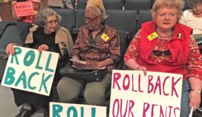 Tenant protestors at an RGB meeting