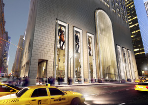 Rendering of the showcase retail space now on the market at 550 Madison.