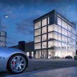 Rendering of the future Maserati showroom on Auto Row