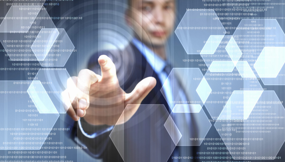 image of businessman touching screen with finger