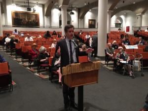 Sen. Brad Hoylman spoke at Monday'e meeting in support of a rent freeze.