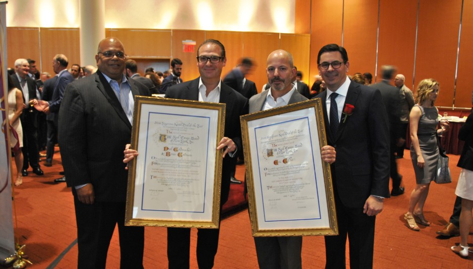 """L-R: John Banks, REBNY President; Brian Goldman, Newmark Grubb Knight Frank, winner of The Most Ingenious Retail Deal of the Year; Eric Gelber, CBRE, Inc., winner of The Most Significant Retail Deal of the Year; Andrew Mandell, Ripco Real Estate, Chair of REBNY's Retail Committee."""""""