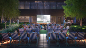 Rendering of movie night on the sundeck