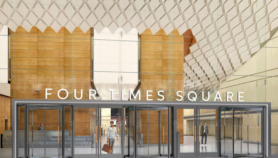Rendering of the new lobby design for 4 Times Square