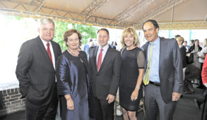 Houlihan Parnes threw a 125th anniversary party earlier this summer. Picture l-r: Jim Houlihan; Irish Consul general Barbara Jones; Westchester County Executive Robert Astorino; Mary Patricia Houlihan, Houlihan & O'Malley and; Andrew M. Greenspan, GHP Office Realty.