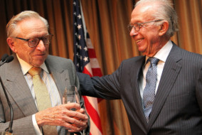 NEW YORK, NY - SEPTEMBER 08:  Larry Silverstein accepts the Resilience Award from Leonard Boxer at the 15th Anniversary Roots of Resilience Gala hosted by Tuesday's Children on September 8, 2016 at The Pierre in New York City.  (Photo by Paul Morigi/Getty Images for Tuesday's Children)