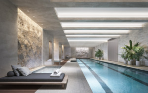 An 82-foot swimming pool, separate children's pool, and hot and cold plunge pools provide 70 Vestry residents with a variety of aquatic activities.