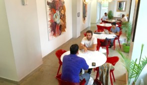 The Workville space features art from curated by Art Zealous' Kristina Lopez
