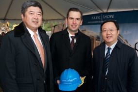 From left: Ning Yuan, president of China Construction America; Steven Fulop, mayor of Jersey City; Shanqing Zhou, economic and commercial councilor of Consulate General of PRC in New York