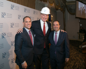 Richard Cavallaro, Mayor Bill de Blasio, and Carlo Scissura. Photo by Bob Wallace