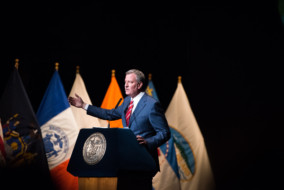 Mayor Bill de Blasio delivers his State of the City address at the Apollo Theater in Harlem on Monday, February 13, 2017. Edwin J. Torres/Mayoral Photography Office